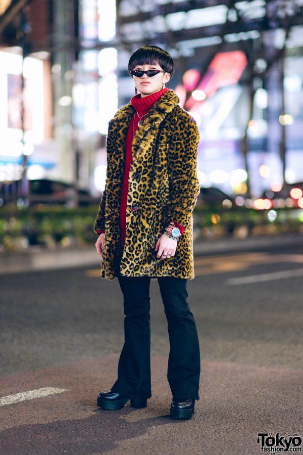 Leopard Print Coat & Red Turtleneck Street Style w/ Zara TRF, Emoda, Yosuke, & Saad