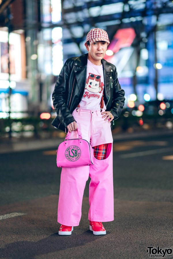 Harajuku Street Style w/ Calvin Klein Leather Jacket, Aymmy in the Batty Girls, Plaid Suspenders, X-Girl, Pinnap, Little Sunny Bite & Nike Sneakers