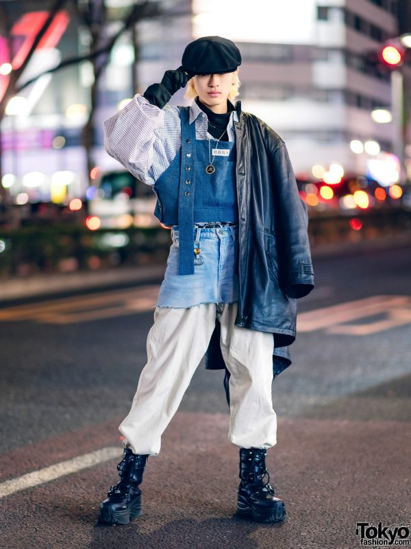 Harajuku Layered Street Style w/ Newsboy Cap, Leather Coat, Denim Skirt Over Parachute Pants, Black Gloves & Yosuke Boots