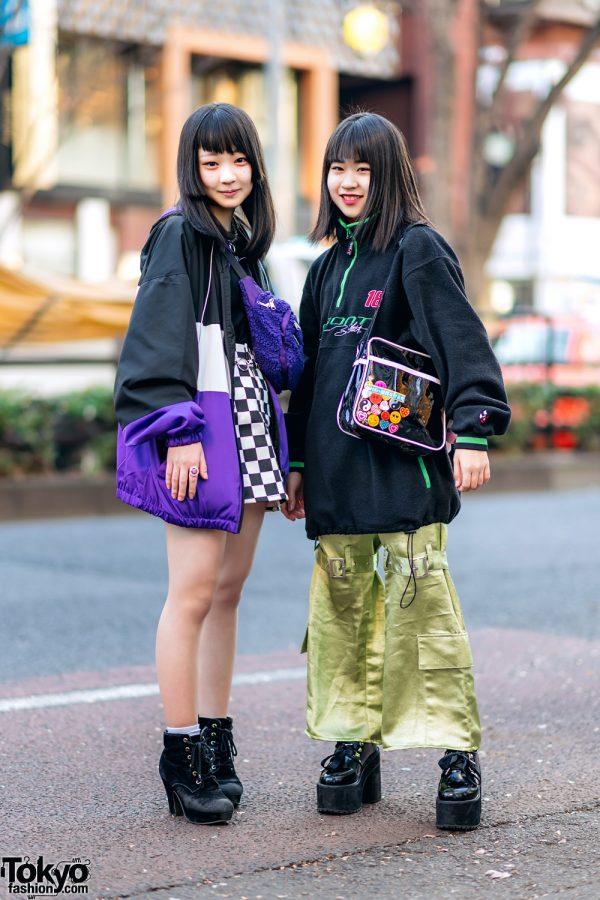 Harajuku Girls Street Styles w/ NASCAR Jacket, WC Harajuku Checkered Skirt, Satin Strap Pants, Oh Pearl, Bubbles & Thank You Mart