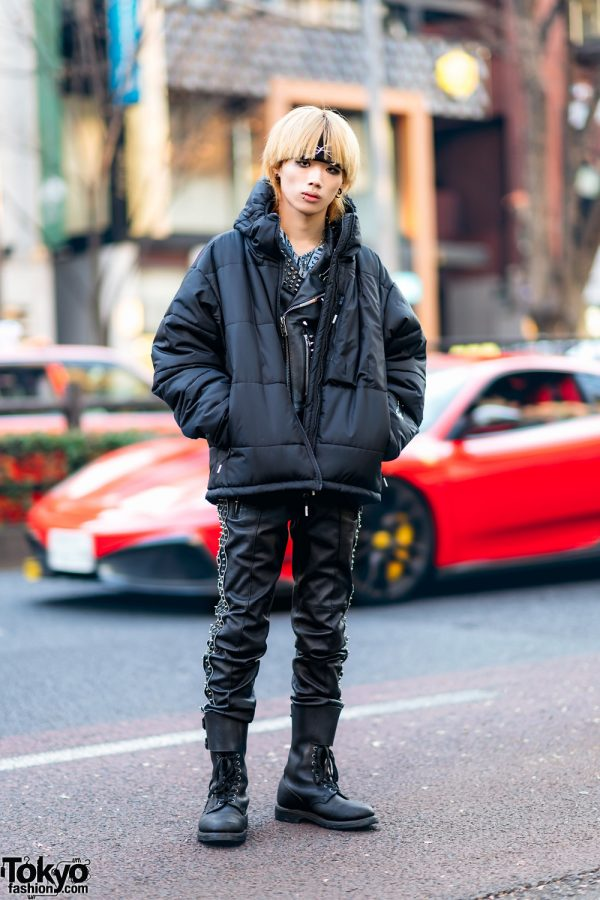 All Black 99%IS- Street Style w/ Blond Hair, Studded Leather Jacket, Leather Pants, Puffer Jacket & Vintage Boots