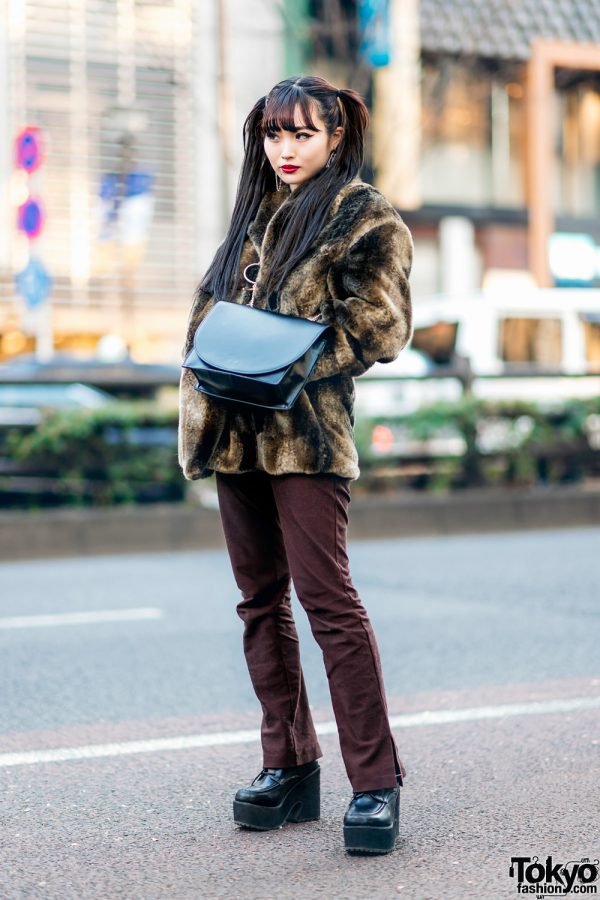 Chic Tokyo Streetwear Style w/ Twin Tails, Lip-To-Ear Chain, Faux Fur Jacket, Leather Flap Bag & Platform Booties