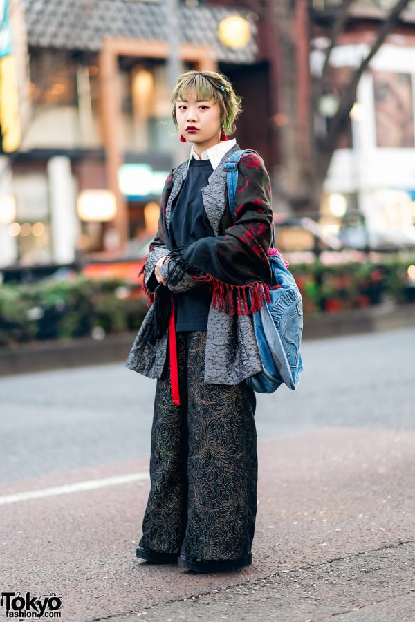 Vintage Jacket & Wide Embroidered Pants Street Style w/ Green Hair, Floral Print Scarf, Hunting World, Yosuke & WEGO