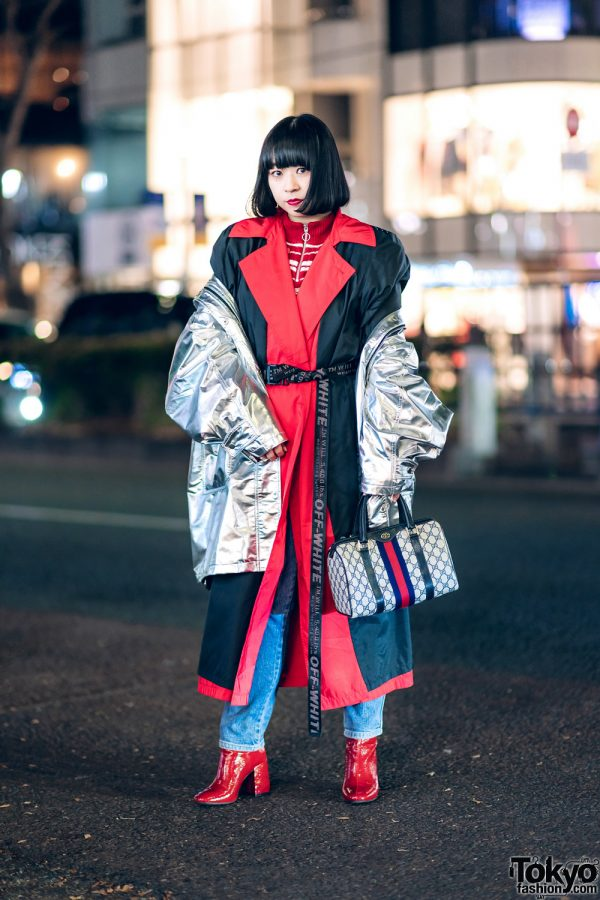 Chic Layered Street Look in Harajuku w/ Metallic Jacket, Maxi Coat, Forever21 Boots, Off-White & Gucci Handbag