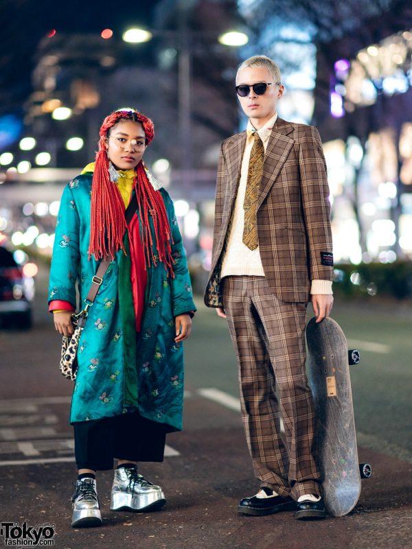 Eclectic Tokyo Street Styles w/ Skateboard, 70's Plaid Suit, Christian Dior Satin Coat, Yohji Yamamoto, Gallerie, Kenzo & Dr. Martens