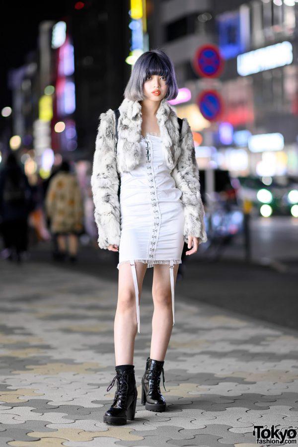 Teen Japanese Fashion Designer w/ Lavender Bob, Vintage Faux Fur, Hook Front Minidress & Billion Tokyo