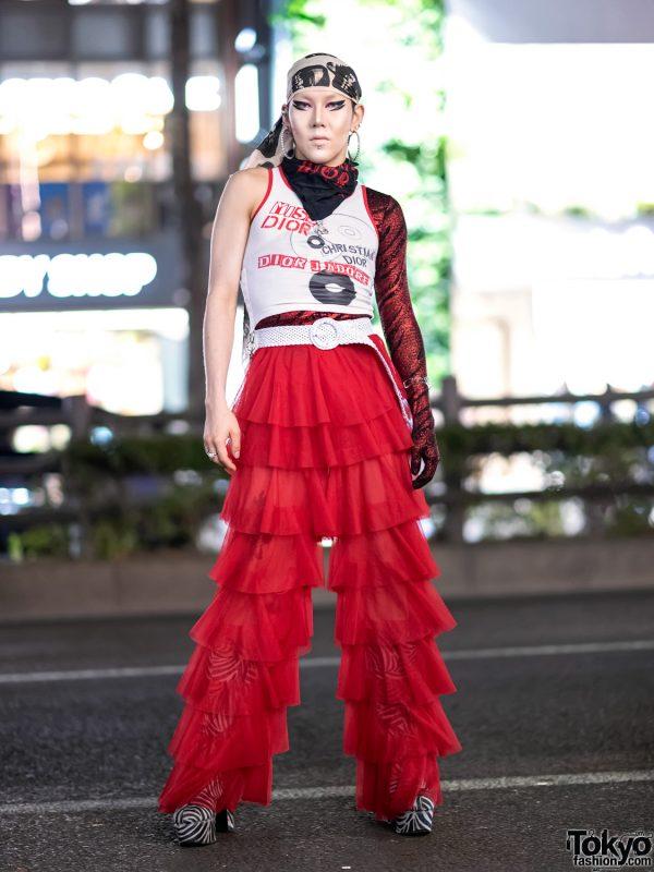 GlamHate Designer in Harajuku Wearing Christian Dior Fashion & Single Sequin Glove 3