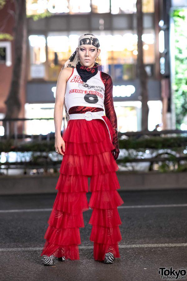 GlamHate Designer in Harajuku Wearing Christian Dior Fashion & Single Sequin Glove 2