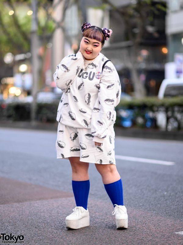 Harajuku Girl in Fugu Print Sweatshirt & Punyus Fugu Shorts, Platform Shoes & WEGO Sackpack 5