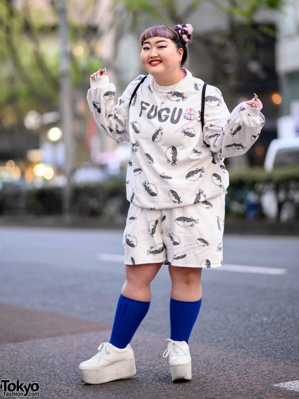 Harajuku Girl in Fugu Print Sweatshirt & Punyus Fugu Shorts, Platform Shoes & WEGO Sackpack 6
