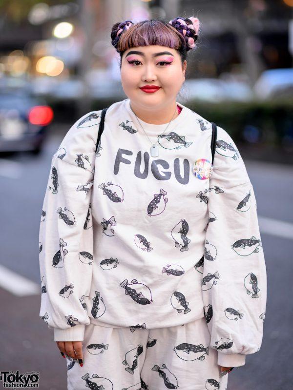 Harajuku Girl in Fugu Print Sweatshirt & Punyus Fugu Shorts, Platform Shoes & WEGO Sackpack 7