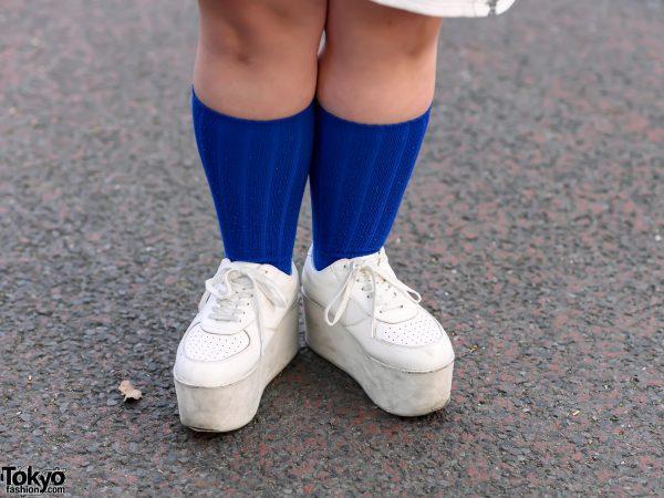 Harajuku Girl in Fugu Print Sweatshirt & Punyus Fugu Shorts, Platform Shoes & WEGO Sackpack 9