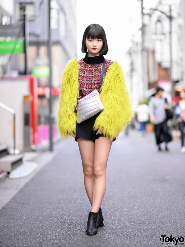 Harajuku Girl in Sly Shaggy Faux Fur Jacket, Zara Shorts, Booties & Metallic Purse