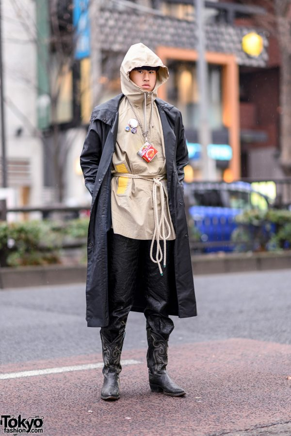Harajuku Outerwear Style w/ Long Coat Over Hooded Jacket, Rope Belt, Textured Pants & Tony Lama Cowboy Boots