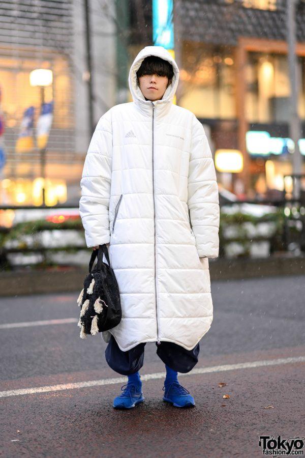 Harajuku Street Style w/ Gosha Rubchinskiy x Adidas Hooded Puffer Coat, Christopher Nemeth Fringe Bag, Maison Margiela & Reebok Sneakers