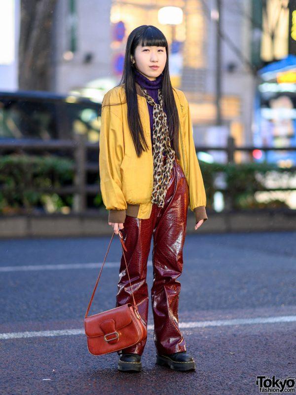 Kansai Yamamoto Sports Bomber Jacket, Leopard Print Scarf, Vintage Snakeskin Pants, Dr. Martens Boots & Vintage Handbag in Harajuku