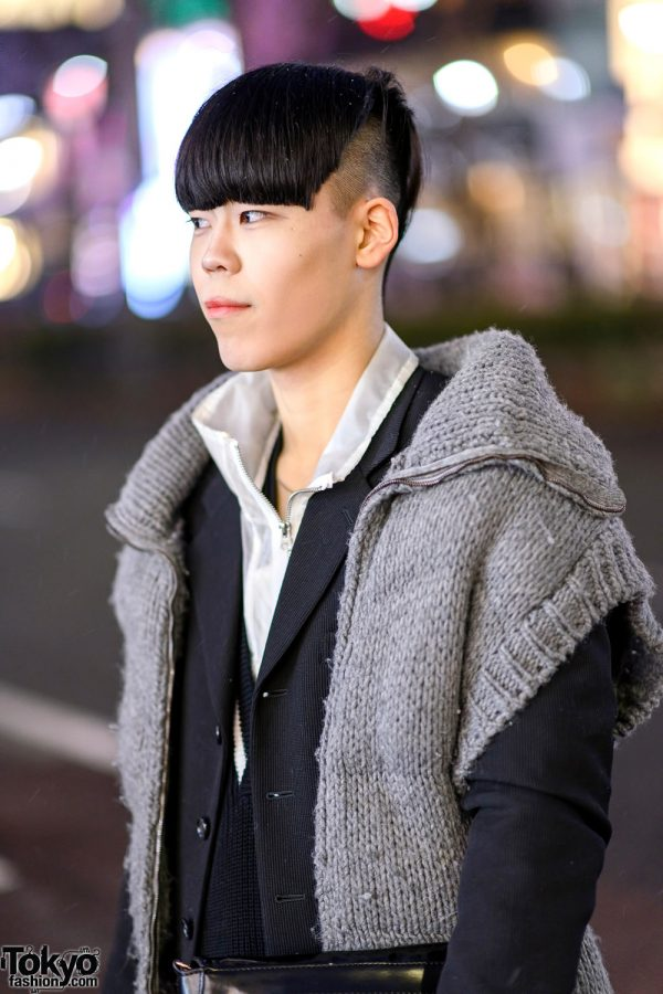 Tokyo Monochrome Layered Street Style W Oversized Collar