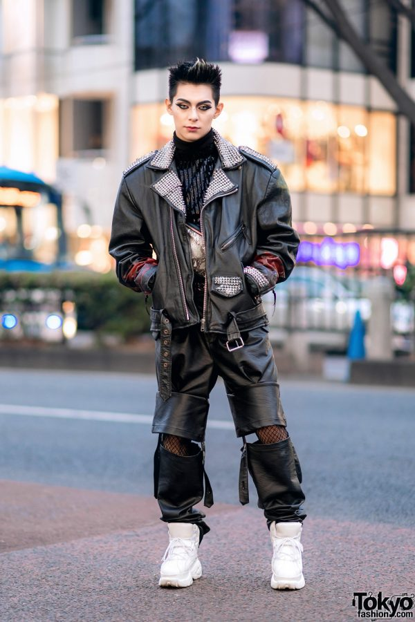 Leather Harajuku Street Style w/ Spiked Motorcycle Jacket, Gallerie Tokyo Sequin Top, MYOB Cutout Pants & Snakeskin Bag