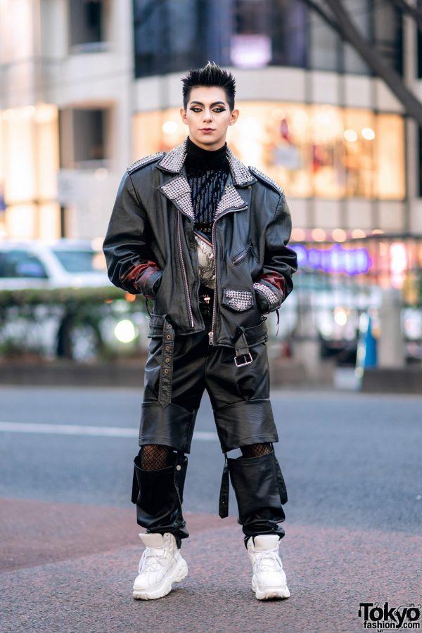Leather Harajuku Street Style w/ Spiked Motorcycle Jacket, Gallerie Tokyo Sequin Top, MYOB Cutout Pants & Snakeskin Bag 3