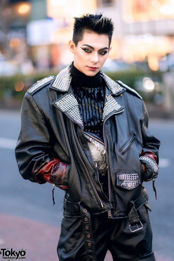 Leather Harajuku Street Style w/ Spiked Motorcycle Jacket, Gallerie Tokyo Sequin Top, MYOB Cutout Pants & Snakeskin Bag 4