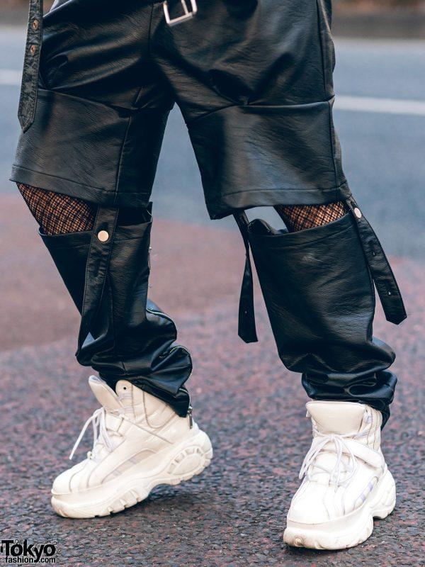 Leather Harajuku Street Style w/ Spiked Motorcycle Jacket, Gallerie Tokyo Sequin Top, MYOB Cutout Pants & Snakeskin Bag 9