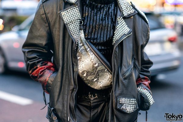 Leather Harajuku Street Style w/ Spiked Motorcycle Jacket, Gallerie Tokyo Sequin Top, MYOB Cutout Pants & Snakeskin Bag 8