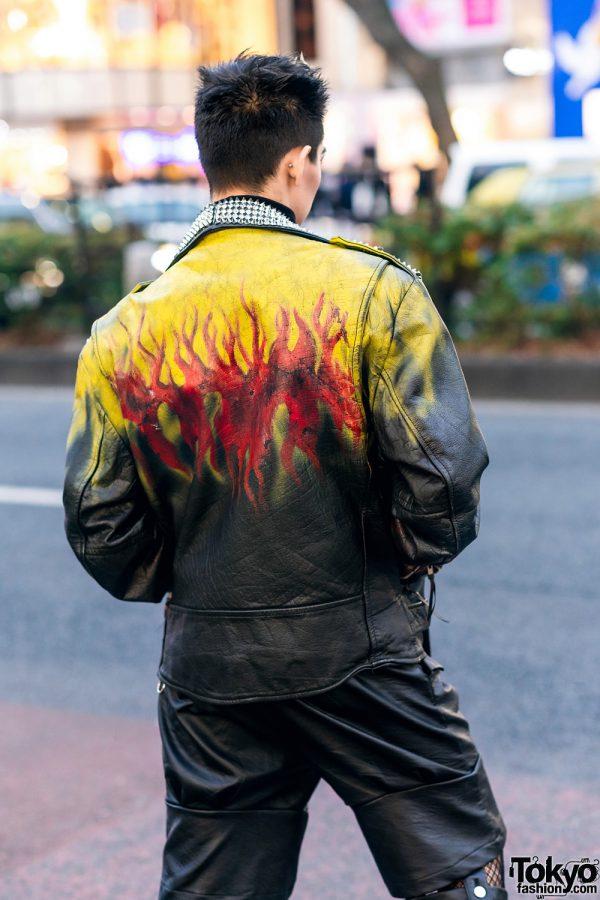 Leather Harajuku Street Style w/ Spiked Motorcycle Jacket, Gallerie Tokyo Sequin Top, MYOB Cutout Pants & Snakeskin Bag 6