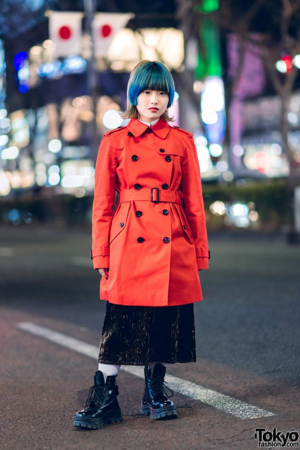 Orange Trench Coat & Blue Hair Harajuku Street Style w/ Coach, Eytys x H&M & Vintage Fashion