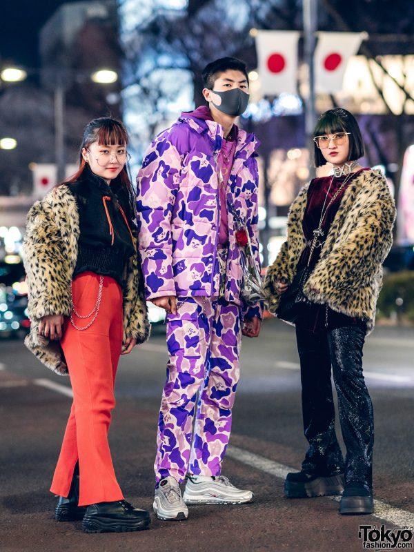 Harajuku Teens Streetwear Styles w/ Ripndip Cat Camo Print, WEGO Leopard Print Fur Jackets, MYOB, Jeanasis, FR2, Demonia, Nike & Romantic Standard