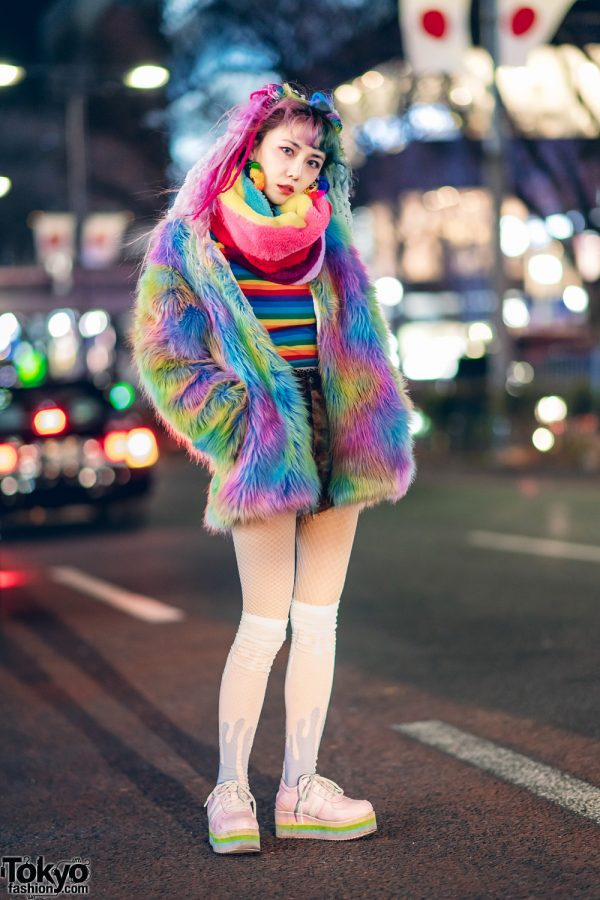 Tokyo Colorful Fashion w/ Rainbow Hair Falls, 80s90s00s Tassel Earrings, Furry Rainbow Jacket, Tie Dye Shorts & Pastel Sneakers