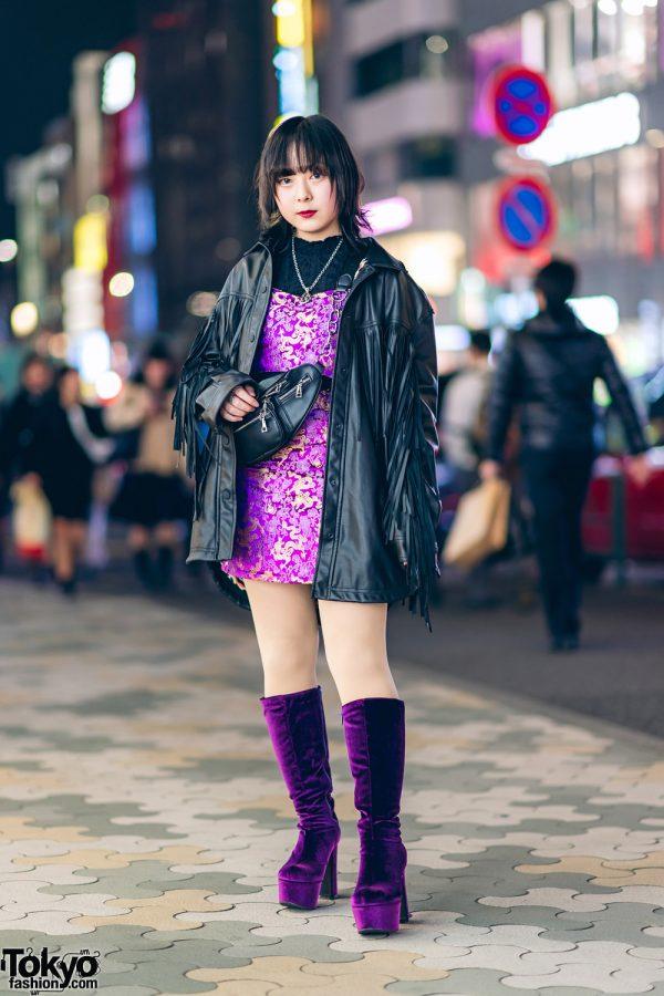 Harajuku Street Style w/ Fringe Leather Jacket, Dragon Print Dress & Gallerie Tokyo Purple Velvet Boots 3