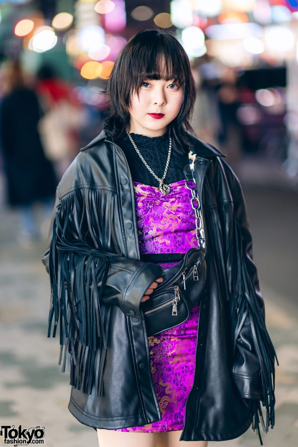 Harajuku Street Style w/ Fringe Leather Jacket, Dragon Print Dress & Gallerie Tokyo Purple Velvet Boots 4