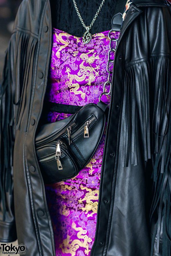 Harajuku Street Style w/ Fringe Leather Jacket, Dragon Print Dress & Gallerie Tokyo Purple Velvet Boots 6
