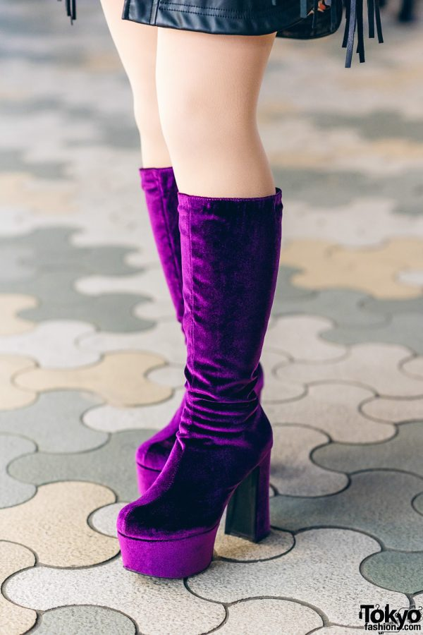 Harajuku Street Style w/ Fringe Leather Jacket, Dragon Print Dress & Gallerie Tokyo Purple Velvet Boots 7