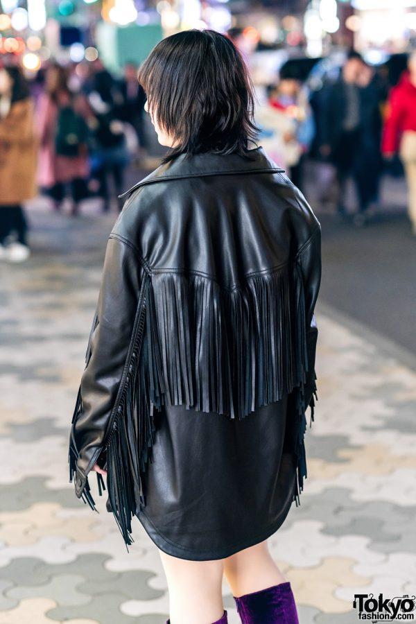 Harajuku Street Style w/ Fringe Leather Jacket, Dragon Print Dress & Gallerie Tokyo Purple Velvet Boots 5
