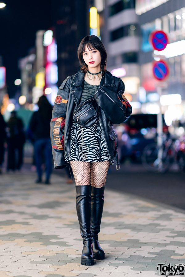 Harajuku Street Style w/ Harley Davidson Leather Jacket, Bubbles Zebra Print Skirt, Torn Fishnets, Boots & Oh Pearl Bag