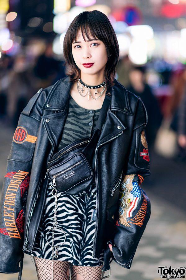Harajuku Street Style w/ Harley Davidson Leather Jacket, Bubbles Zebra Print Skirt, Torn Fishnets, Boots & Oh Pearl Bag 3