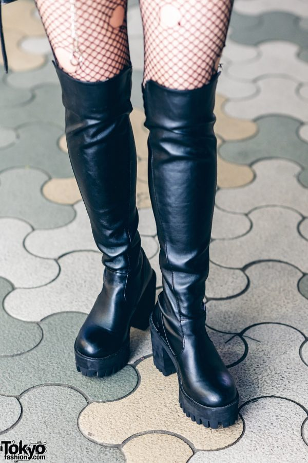 Harajuku Street Style w/ Harley Davidson Leather Jacket, Bubbles Zebra Print Skirt, Torn Fishnets, Boots & Oh Pearl Bag 6