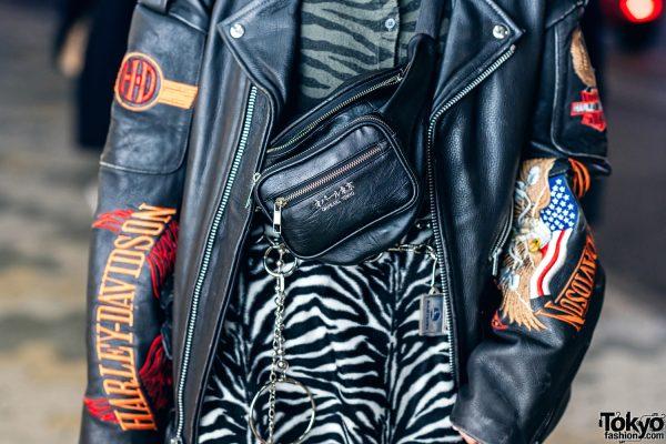 Harajuku Street Style w/ Harley Davidson Leather Jacket, Bubbles Zebra Print Skirt, Torn Fishnets, Boots & Oh Pearl Bag 5