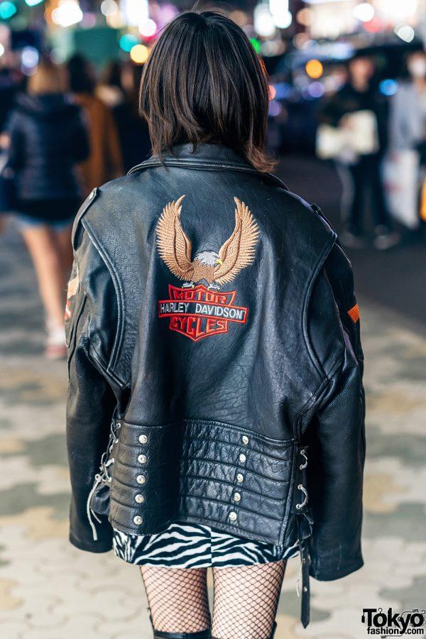Harajuku Street Style w/ Harley Davidson Leather Jacket, Bubbles Zebra Print Skirt, Torn Fishnets, Boots & Oh Pearl Bag 4