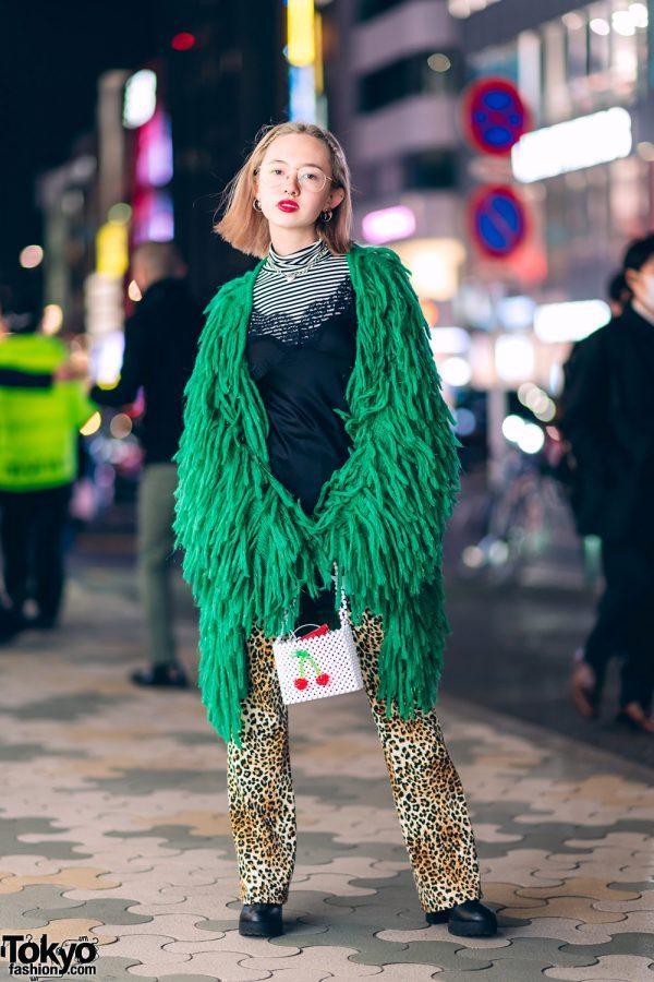 Harajuku Model's Layered Streetwear Style w/ Jouetie Fringed Coat, Tiffany & Co., H&M, Forever21 Slip Dress, UNIQLO, Dolls Kill & Susan Alexandra Cherry Bag