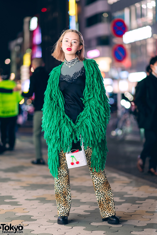 5f0d4df23 Harajuku Model's Layered Streetwear Style w/ Jouetie Fringed Coat, Tiffany  & Co., H&M, Forever21 Slip Dress, UNIQLO, Dolls Kill & Susan Alexandra  Cherry Bag