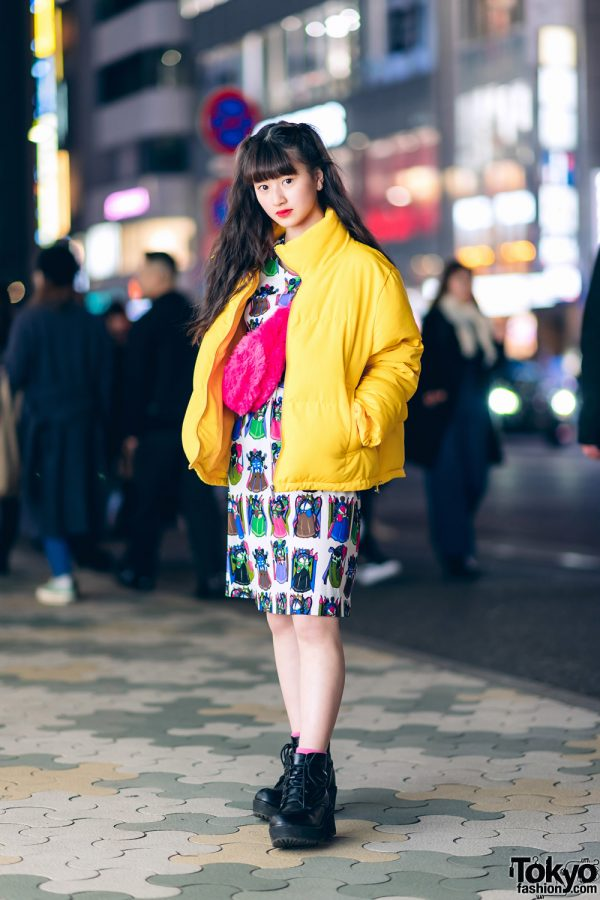 Japanese Pop Idol & Model Streetwear Style w/ Sevens Puffer Coat, Petit Cochon Printed Dress, WEGO Lace-Up Boots & Forever21 Furry Waist Bag
