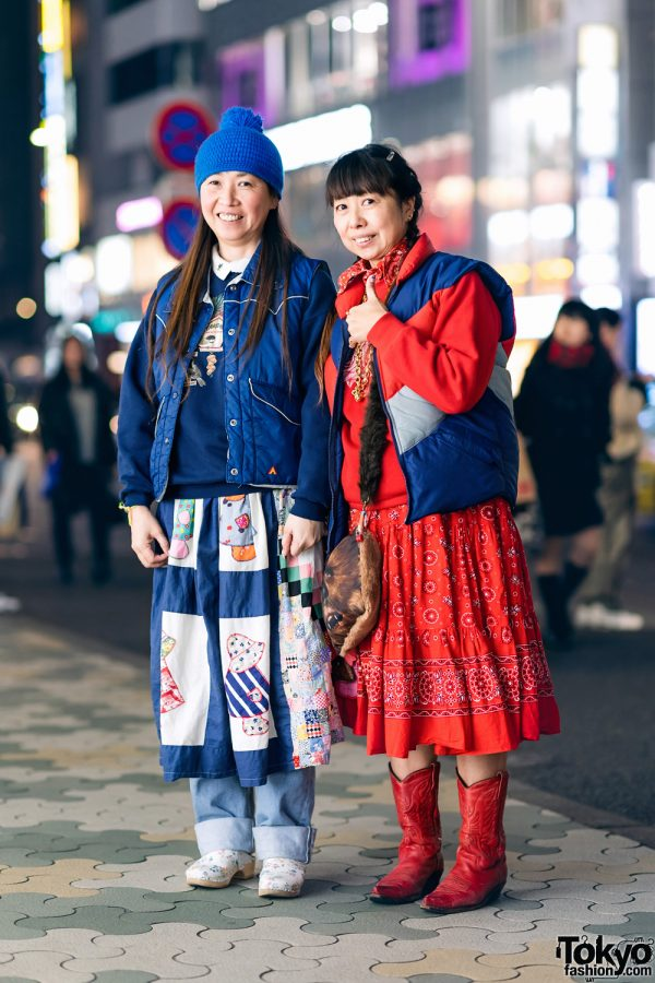 Harajuku Eclectic Street Styles w/ Pompom Beanie, Puffer Vest, Patchwork Skirt Over Jeans, Bandana Dress, Cowboy Boots, Floral Mules, Mickey Mouse Necklace & Star Wars Chewbacca Sling Bag