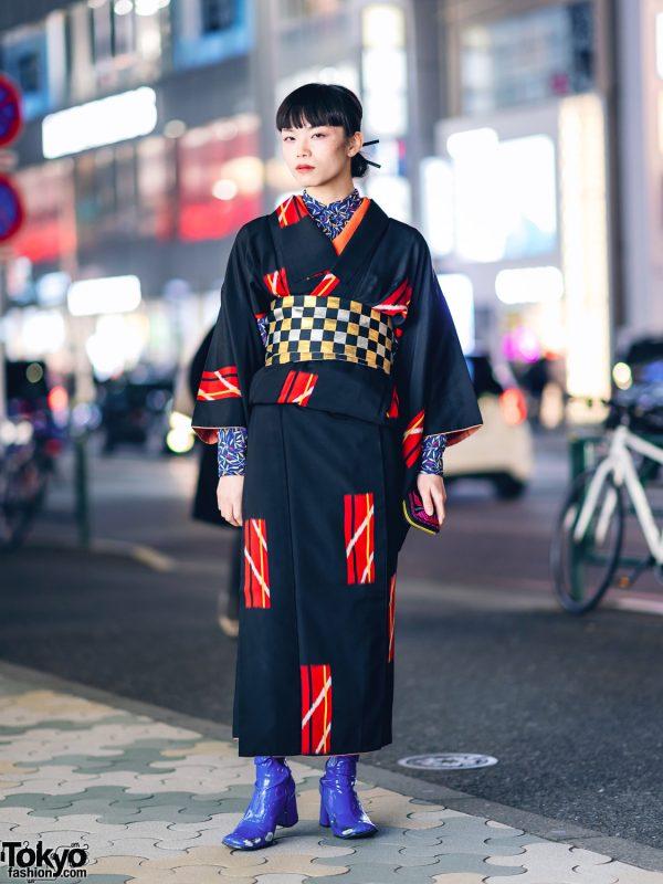 Vintage Geometric Print Japanese Kimono, Leaf Print Shirt, Checkered Obi & Vinyl Boots in Harajuku 2