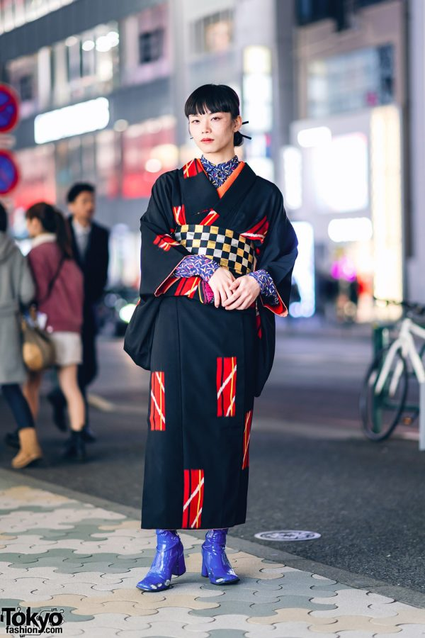 Vintage Geometric Print Japanese Kimono, Leaf Print Shirt, Checkered Obi & Vinyl Boots in Harajuku 3