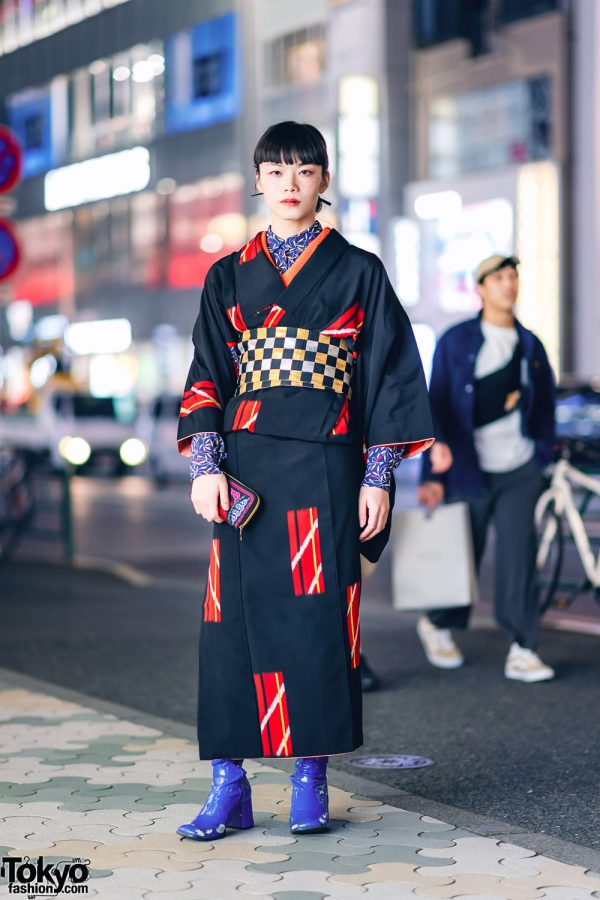 Vintage Geometric Print Japanese Kimono, Leaf Print Shirt, Checkered Obi & Vinyl Boots in Harajuku 4