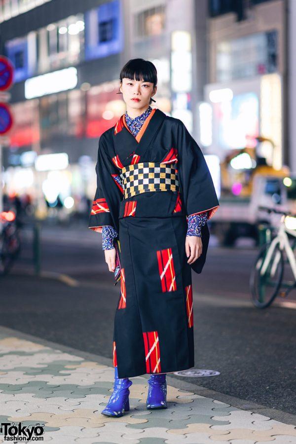 Vintage Geometric Print Japanese Kimono, Leaf Print Shirt, Checkered Obi & Vinyl Boots in Harajuku 5