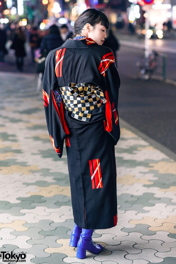 Vintage Geometric Print Japanese Kimono, Leaf Print Shirt, Checkered Obi & Vinyl Boots in Harajuku 9
