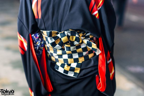 Vintage Geometric Print Japanese Kimono, Leaf Print Shirt, Checkered Obi & Vinyl Boots in Harajuku 8